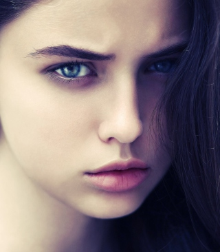 Brunette Girl With Blue Eyes Wallpaper for Nokia C2-05