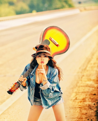 Girl, Guitar And Road - Fondos de pantalla gratis para 768x1280