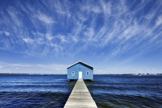 Blue Pier House Background for Android, iPhone and iPad