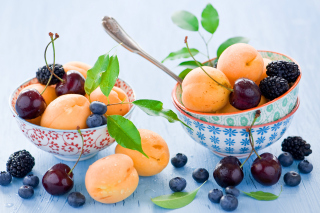 Apricots, cherries and blackberries Background for 1080x960