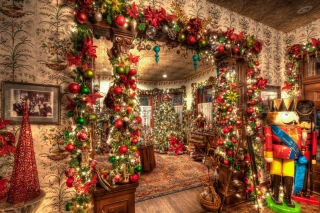 New Year House Decorations and Design sfondi gratuiti per 1366x768