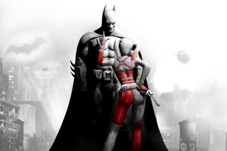 Kostenloses Batman Arkham Knight with Harley Quinn Wallpaper für Android, iPhone und iPad