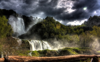 Storm Over Waterfall Picture for Android, iPhone and iPad