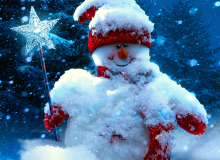 Snowy Snowman Background for Android, iPhone and iPad
