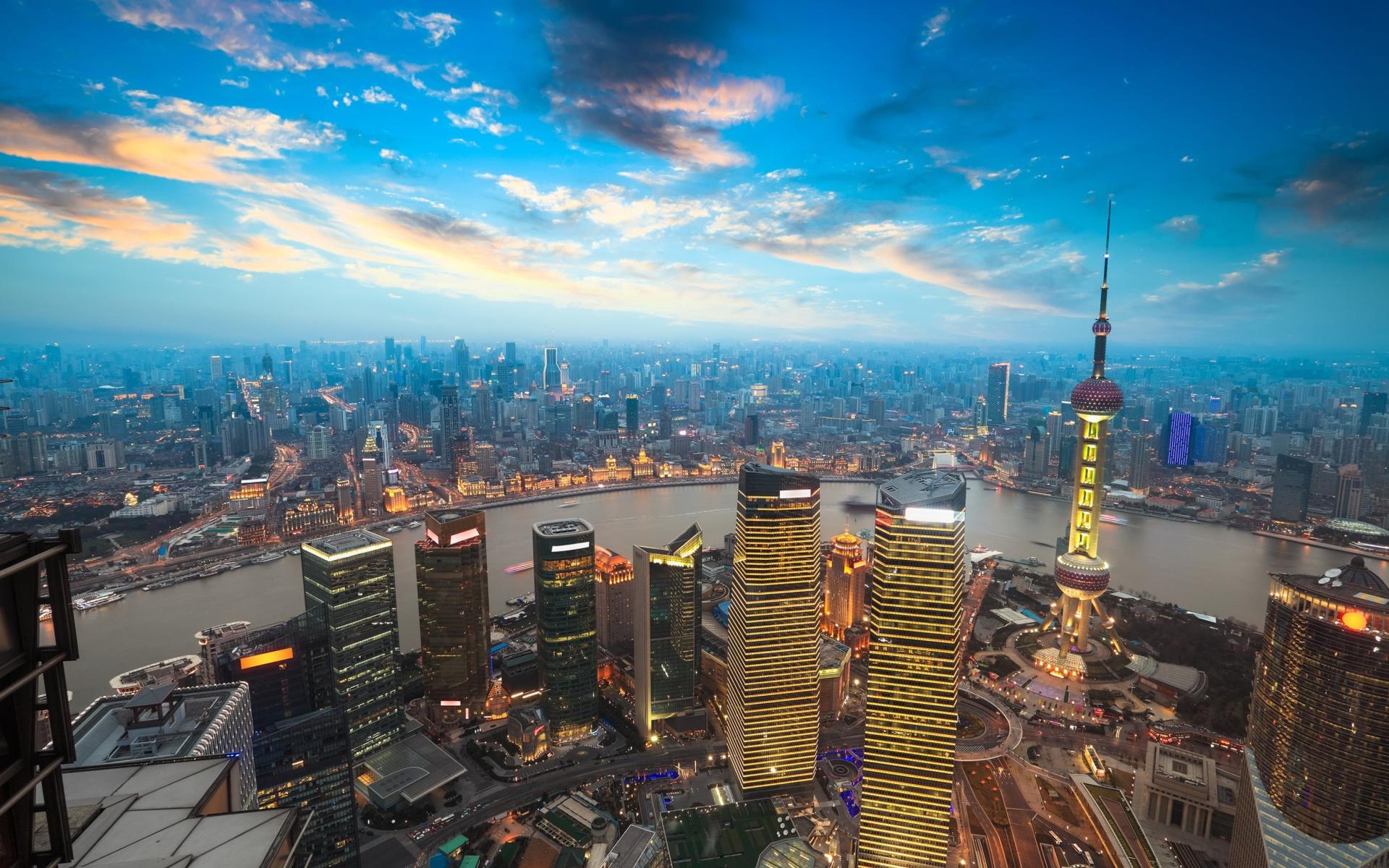 Shanghai Sunset para Widescreen Desktop PC 1920x1080 Full HD