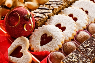 Heart Christmas Cookies Background for Widescreen Desktop PC 1920x1080 Full HD