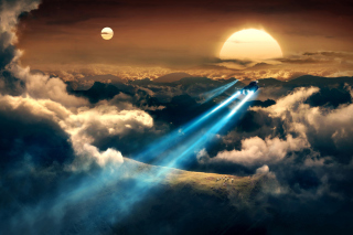 Spaceships In The Sky Background for Android, iPhone and iPad
