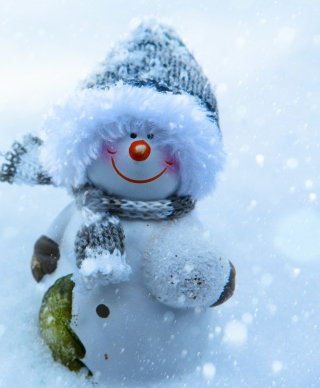 Snowman Covered With Snowflakes Background for Nokia C1-01