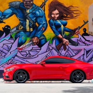 Free Ford Mustang and Miami Graffiti Picture for iPad mini