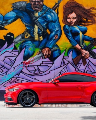 Ford Mustang and Miami Graffiti Wallpaper for iPhone 5
