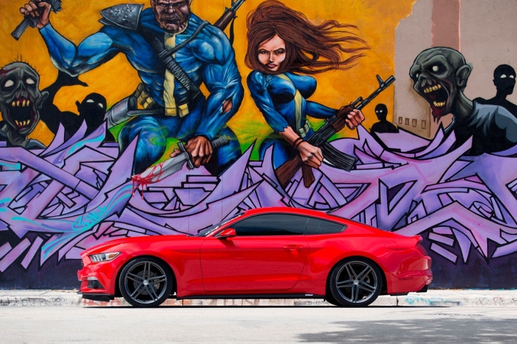 Das Ford Mustang and Miami Graffiti Wallpaper