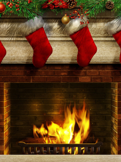 Screenshot №1 pro téma Fireplace And Christmas Socks 240x320