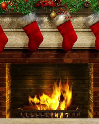 Fireplace And Christmas Socks Picture for Nokia Asha 310