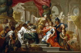 Alexander the Great in the Temple of Jerusalem Canvas Print by Conca Sebastiano - Obrázkek zdarma pro 1366x768