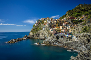 Manarola in Riomaggiore, Italy Background for Fly Levis