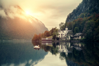 Beautiful House At Swan Lake Background for Android, iPhone and iPad
