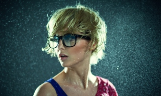 Cute Blonde Girl Wearing Glasses Picture for Android, iPhone and iPad