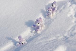 White Teddy Bears Snow Game papel de parede para celular