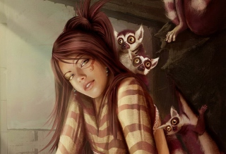 Brunette And Lemurs Background for Android, iPhone and iPad