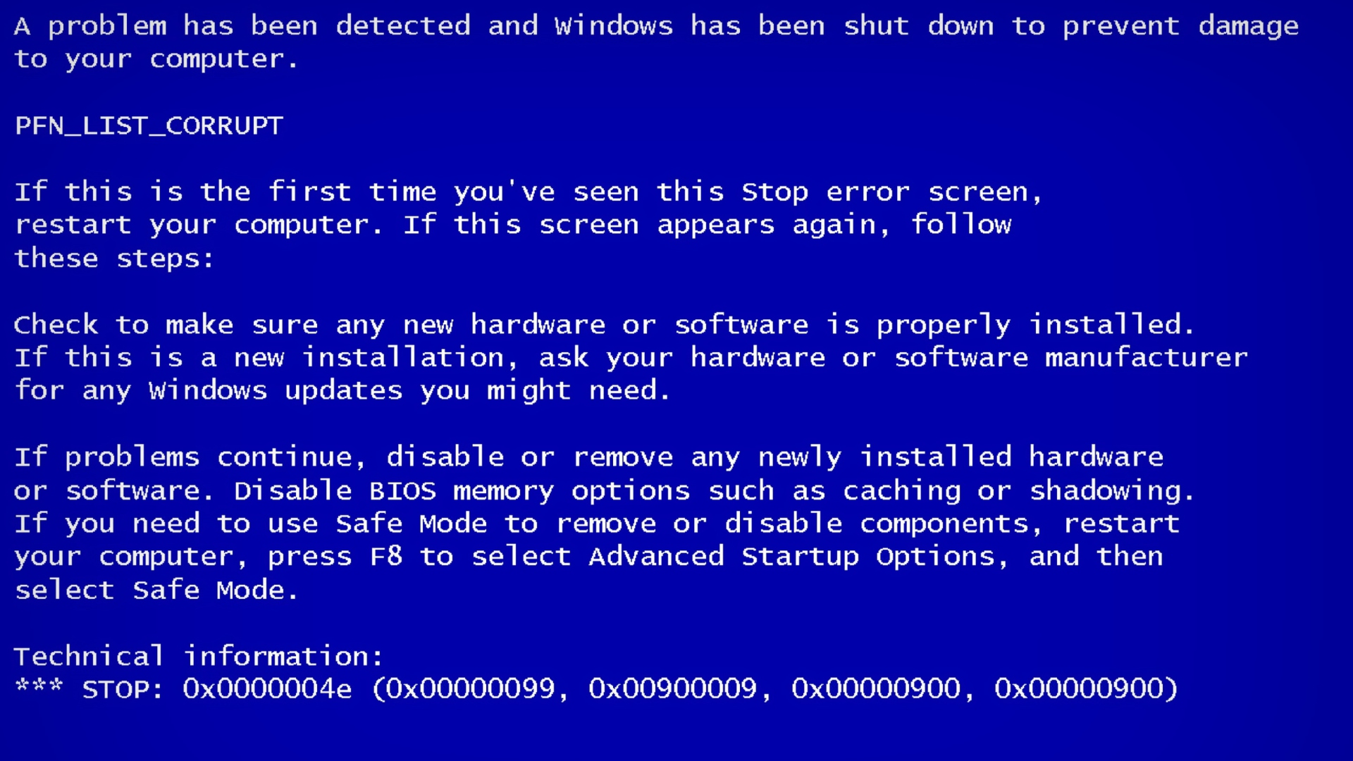 Blue Screen Of Death Wallpaper For Desktop 1920x1080 Full Hd