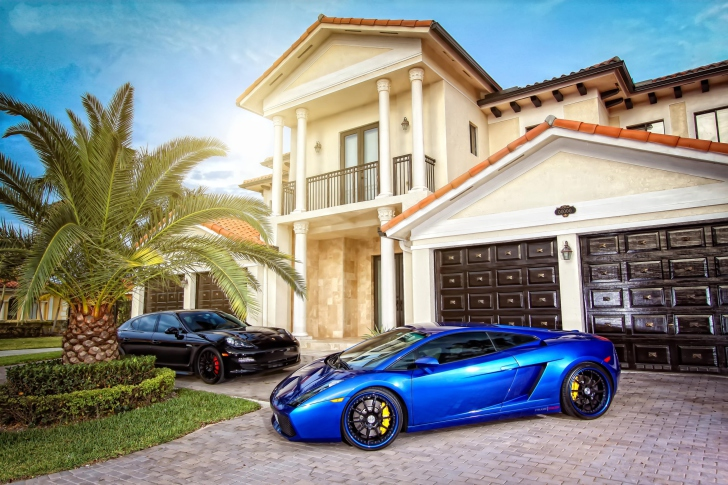 Mansion, Luxury Cars wallpaper