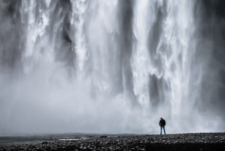 Man And Waterfall Wallpaper for 480x320
