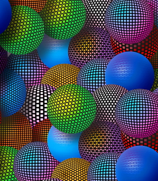 3D Neon Balls Wallpaper for Nokia Asha 310