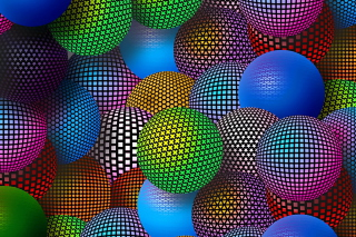 3D Neon Balls Wallpaper for 640x480