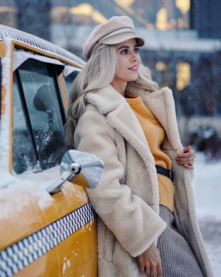 Winter Girl and Taxi Background for 480x640