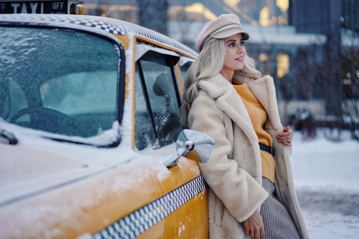 Winter Girl and Taxi wallpaper