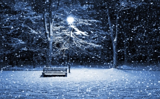 Lonely Bench In Snowy Night Background for Android, iPhone and iPad