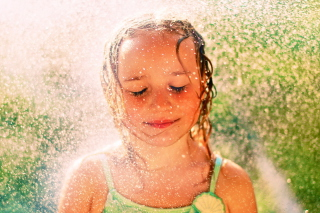 Free Happy Child Girl And Warm Summer Rain Picture for Android, iPhone and iPad