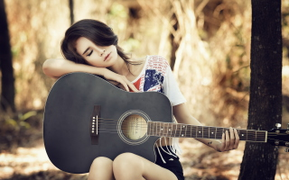 Pretty Girl With Guitar Background for Android, iPhone and iPad
