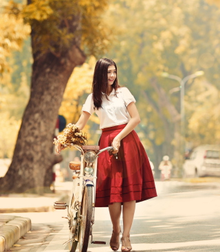 Kostenloses Romantic Girl With Bicycle And Flowers Wallpaper für Nokia X7