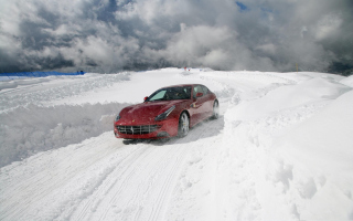 Ferrari In Winter Background for Android, iPhone and iPad