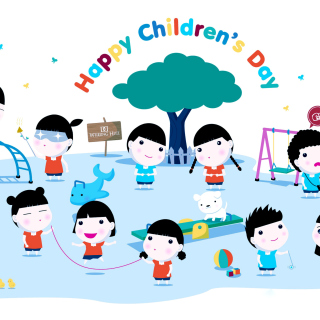 Happy Childrens Day on Playground sfondi gratuiti per 1024x1024