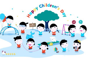 Happy Childrens Day on Playground Background for 960x800