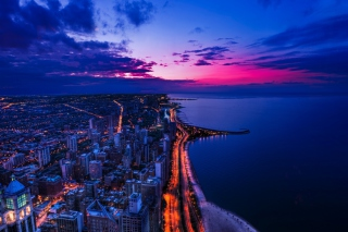 Chicago Sunset Picture for Android, iPhone and iPad