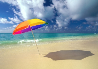 Rainbow Umbrella At Beach Wallpaper for Android, iPhone and iPad