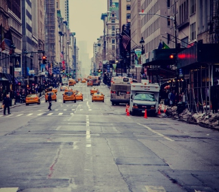 New York City Usa Street Taxi Background for 128x128