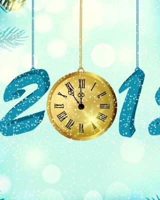 Happy New Year 2015 with Clock - Obrázkek zdarma pro iPhone 6