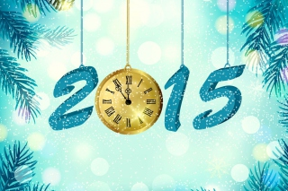 Happy New Year 2015 with Clock - Obrázkek zdarma