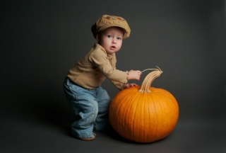 Cute Baby With Pumpkin Background for Android, iPhone and iPad