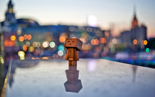 Danbo In The City Wallpaper for Android, iPhone and iPad