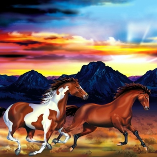Kostenloses Painting with horses Wallpaper für 1024x1024