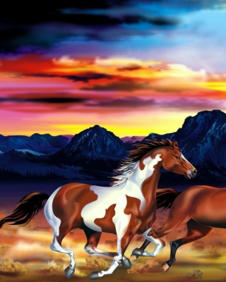 Painting with horses papel de parede para celular para iPhone 6