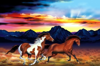Painting with horses Background for Android, iPhone and iPad