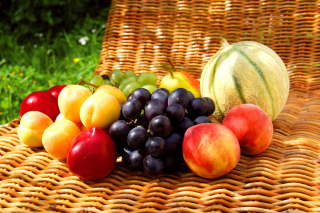 Kostenloses Melons, apricots, peaches, nectarines, grapes, pear Wallpaper für Android 320x480