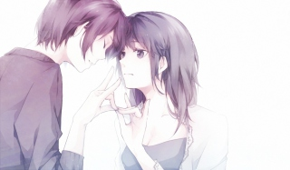 Guy And Girl With Violet Hair Wallpaper for Android, iPhone and iPad