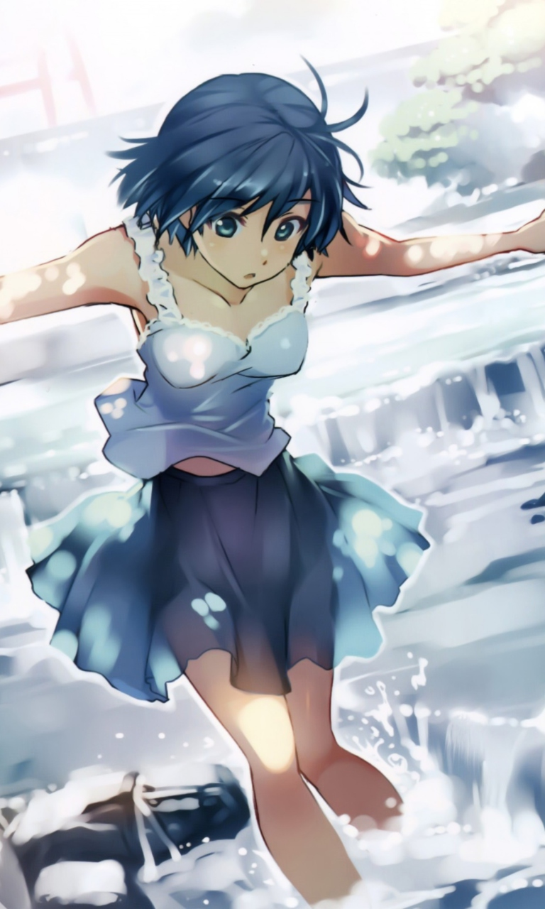 Screenshot №1 pro téma Girl With Blue Hair 768x1280